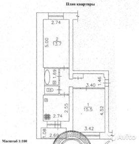 Двухкомнатная квартира 48 кв.м на 2 этаже 5ти этаж