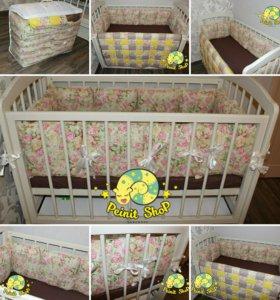 Бортики, одеяло и простынь в кроватку для детей