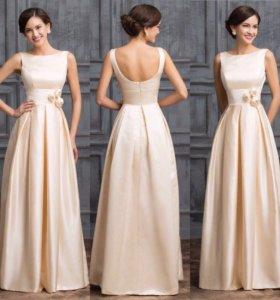 Новое длинное в пол свадебное вечернее платье
