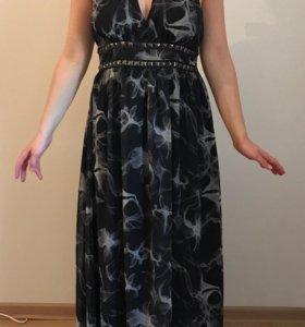 Дымчатое длинное платье