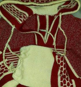 Свитер 100% шерсть с капюшоном (46-48 размер)