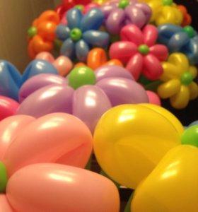 Цветы из шариков. Букет ромашек