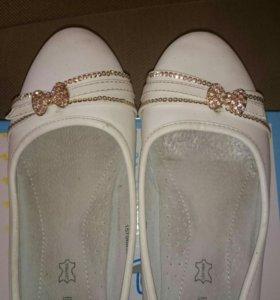 Детские туфли для девочки(белые)