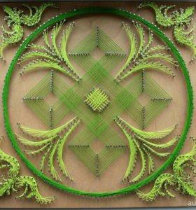 Панно Мандала в стиле string art
