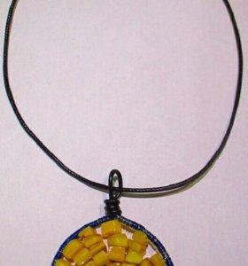 Кулон с камнем Желтый перламутр