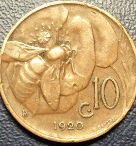 """Монета Италии, 10 чентезимо 1920 """"пчела на цветке"""""""