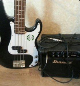 Бас-гитара Rockdale pb black + IBANEZ IBZ10B COMBO