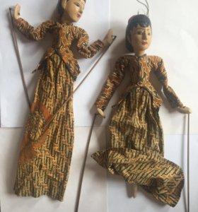 Куклы деревянные на палке для игры в театр