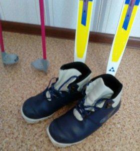 Лыжи палки ботинки