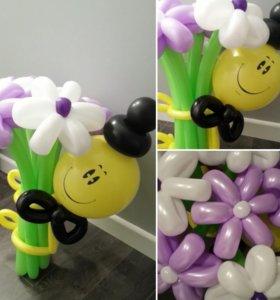 Букет цветов со смайлом из воздушных шаров