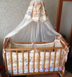 Детская кроватка Балдахин Матрас Бортики