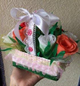 Корзиночка с цветочками ручной работы💐