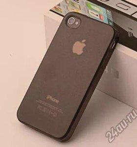Чехол iPhone 4/4s чёрный силикон