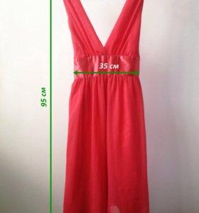 Шифоновое платье кораллового цвета