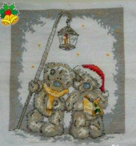 """Картина вышитая крестиком """"Новогодние медведи"""""""