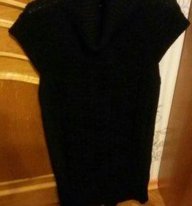 Вязаное платье (темно-синее)