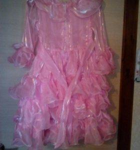 Платье розовое на поясе 4-6 лет