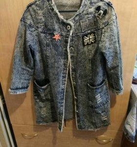Длинная джинсовая куртка