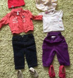 Кофточка,футболка,джинсы,штанишки,2шап.2пар обуви