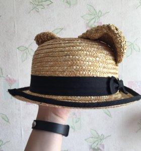 Соломенная шляпа с ушками