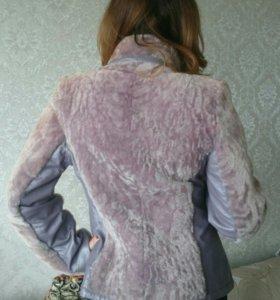 Куртка меховая с кожаными вставками
