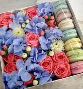 Фруктовые букеты,Цветочные композиции с макарунами