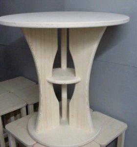 Стол круглый на центральной ножке для кухни, дома.
