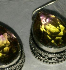 Серебряные серьги с аметринами