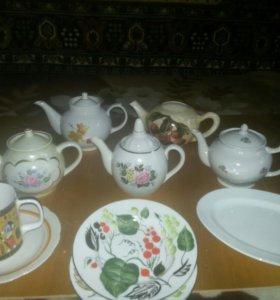 Чайники заварочные, тарелки