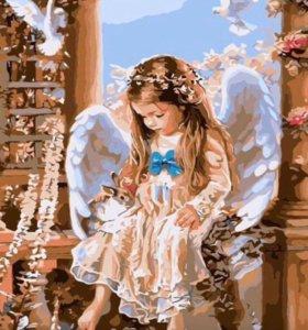 Раскраска по номерам.милый ангел