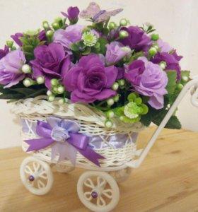 Топиарии, цветочные композиции,подарки ручной рабо