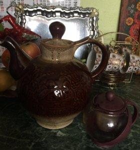 Чайник,чайный сервиз и пивные кружки,супница