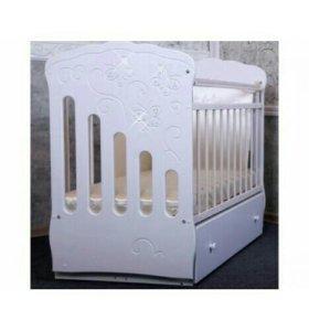 Детская кроватка Бабочки, белая, доставка