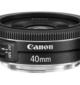 Новый Canon 40 mm 2,8 с фильтром