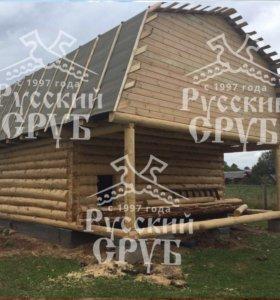 Сруб для дома с ломаной крышей
