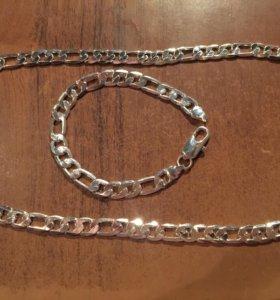 Цепь и браслет серебро 925 комплект
