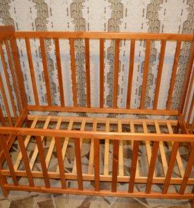 Кроватка детская б/у + матрас с тонкой клеенкой