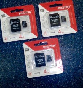 Микро SD 4gb+адаптер