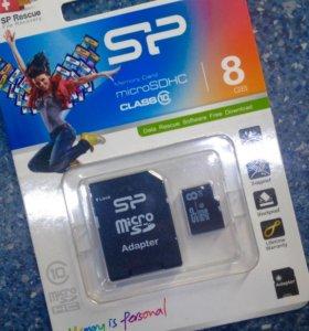 Микро SD 8gb+ адаптер