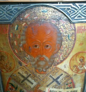Икона 19 век Николай Чудотворец , храмовая икона.