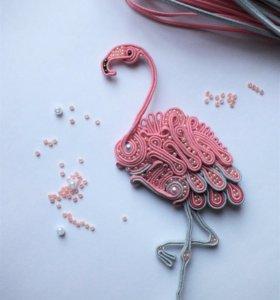 """Брошь """"Розовый фламинго """""""