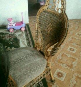Плетенка стол и стулья