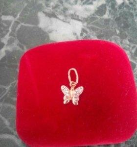 Подвеска золотая бабочка с фианитами