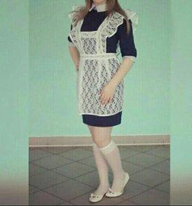 Школьная форма (платье+фартук)