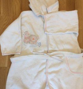 Детский махровый халат для бассейна 104-110р