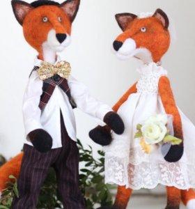 Игрушки из войлока жених и невеста,30см