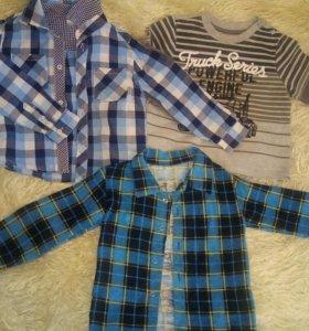 Рубашки+кофта р98