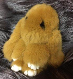 Брелок-Кролик из натурального меха