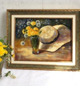"""Картина маслом """"Букетик одуванчиков и шляпка"""""""