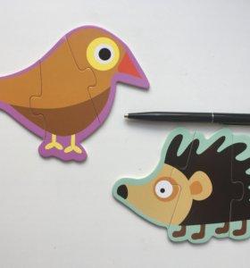 Новые деревянные пазлы Птичка и Ёжик